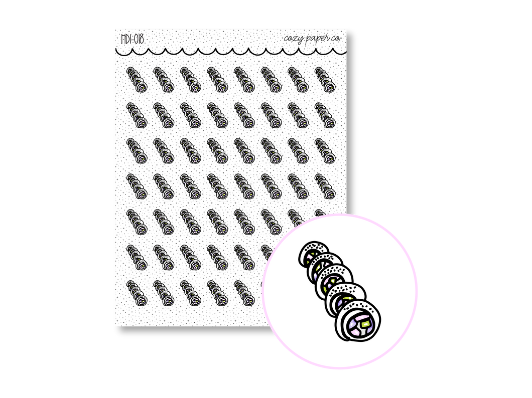 Hand Drawn Foil Sparkle Sushi Icons