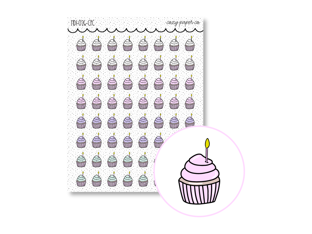 Hand Drawn Foil Sparkle Cupcake Icons