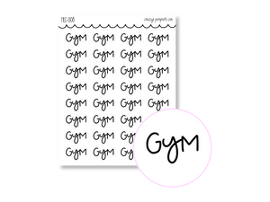 Clear Hand Lettered Gym Script