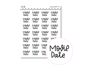 Clear Hand Lettered Movie Date Script