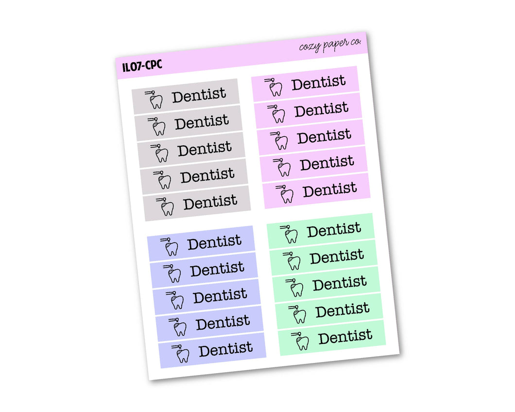 Multicolor Dentist Labels