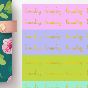 Foil Laundry Script Word Stickers
