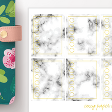 Load image into Gallery viewer, Marble and Foil Checkbox Functional Planner Stickers