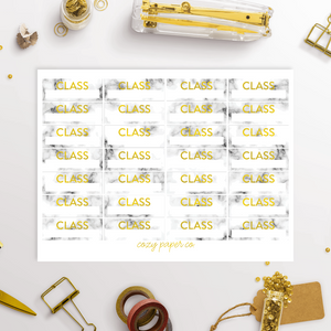 Marble and Foil Class Labels School Functional Stickers
