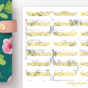 Marble and Foil Workout Label Functional Planner Stickers