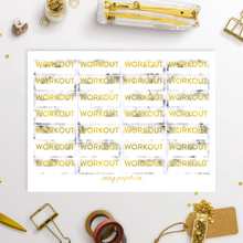 Load image into Gallery viewer, Marble and Foil Workout Label Functional Planner Stickers