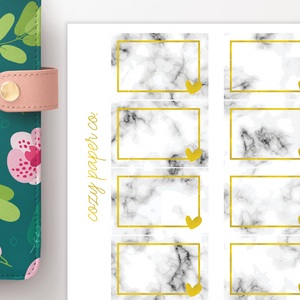 Marble and Foil Half Box Functional Planner Stickers