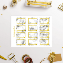 Load image into Gallery viewer, Marble and Foil Half Box Functional Planner Stickers