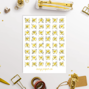Marble and Foil Small Banner Functional Planner Stickers