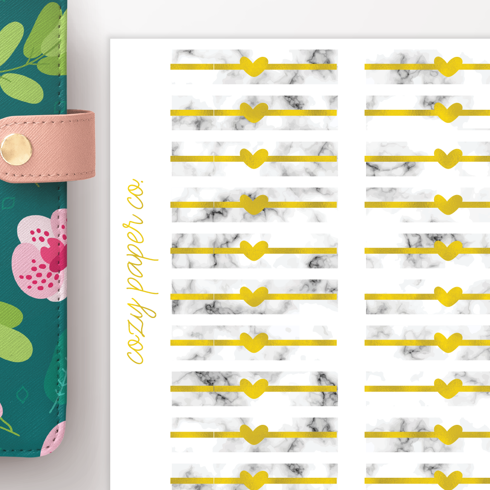 Marble and Foil Heart Headers Functional Planner Stickers