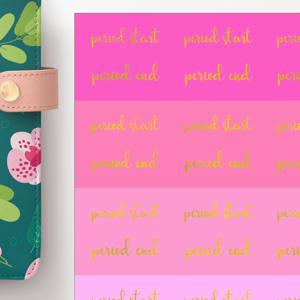 Foil Period Start and End Script Word Stickers