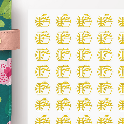 Foil Pet Crate Icon Planner Stickers
