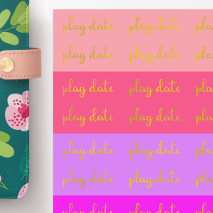 Foil Play Date Script Word Stickers