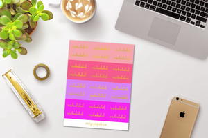 Foil Rescheduled Script Word Stickers