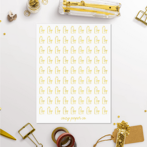 Foil Shaving Beauty Icon Planner Stickers