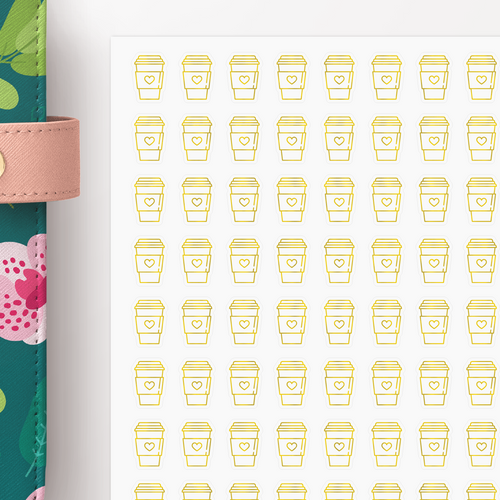 Foil Coffee Travel Mug Icon Planner Stickers
