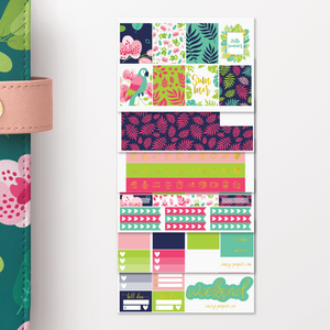 Foil Tropical Summer Weekly Sticker Kit for Erin Condren