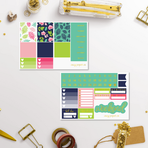 Foil Tropical Summer Weekly Sticker Kit for Classic Happy Planner