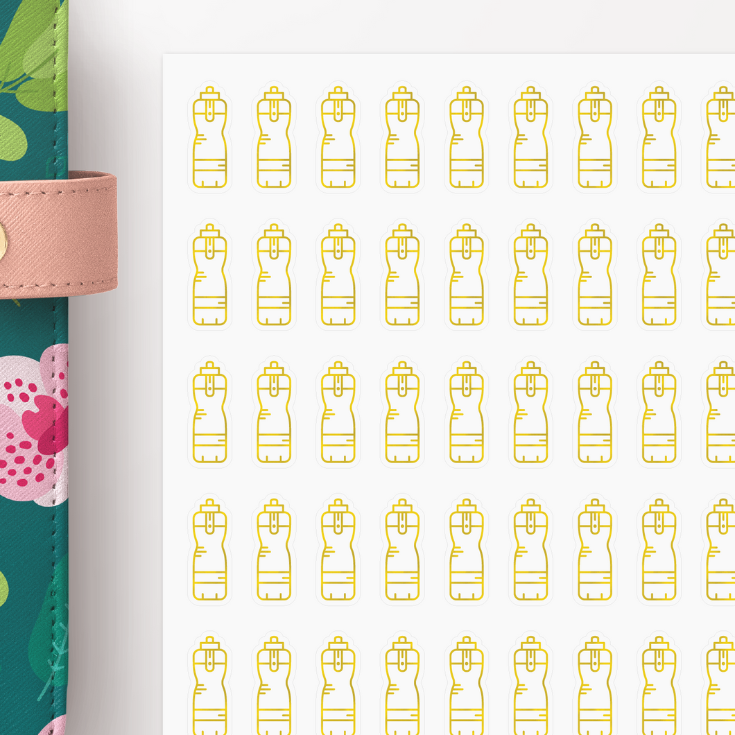 Foil Water Bottle Hydration Icon Planner Stickers