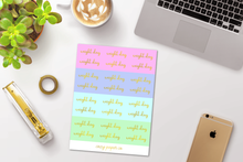 Load image into Gallery viewer, Foil Weight Day Script Word Stickers