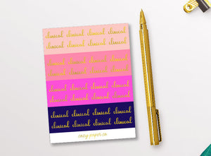 Foil Clinical Reminder Script Word Stickers