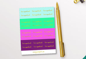 Foil Hair Appointment Script Word Stickers