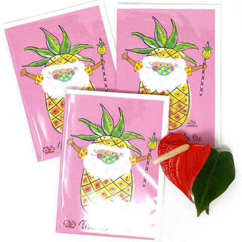 SANTA PINEAPPLE GREETING CARD