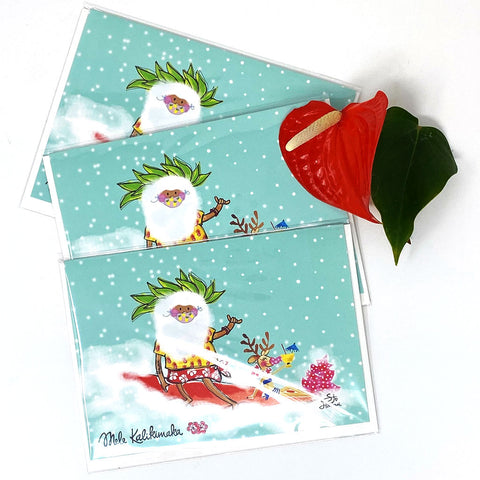 SANTA SURF GREETING CARD