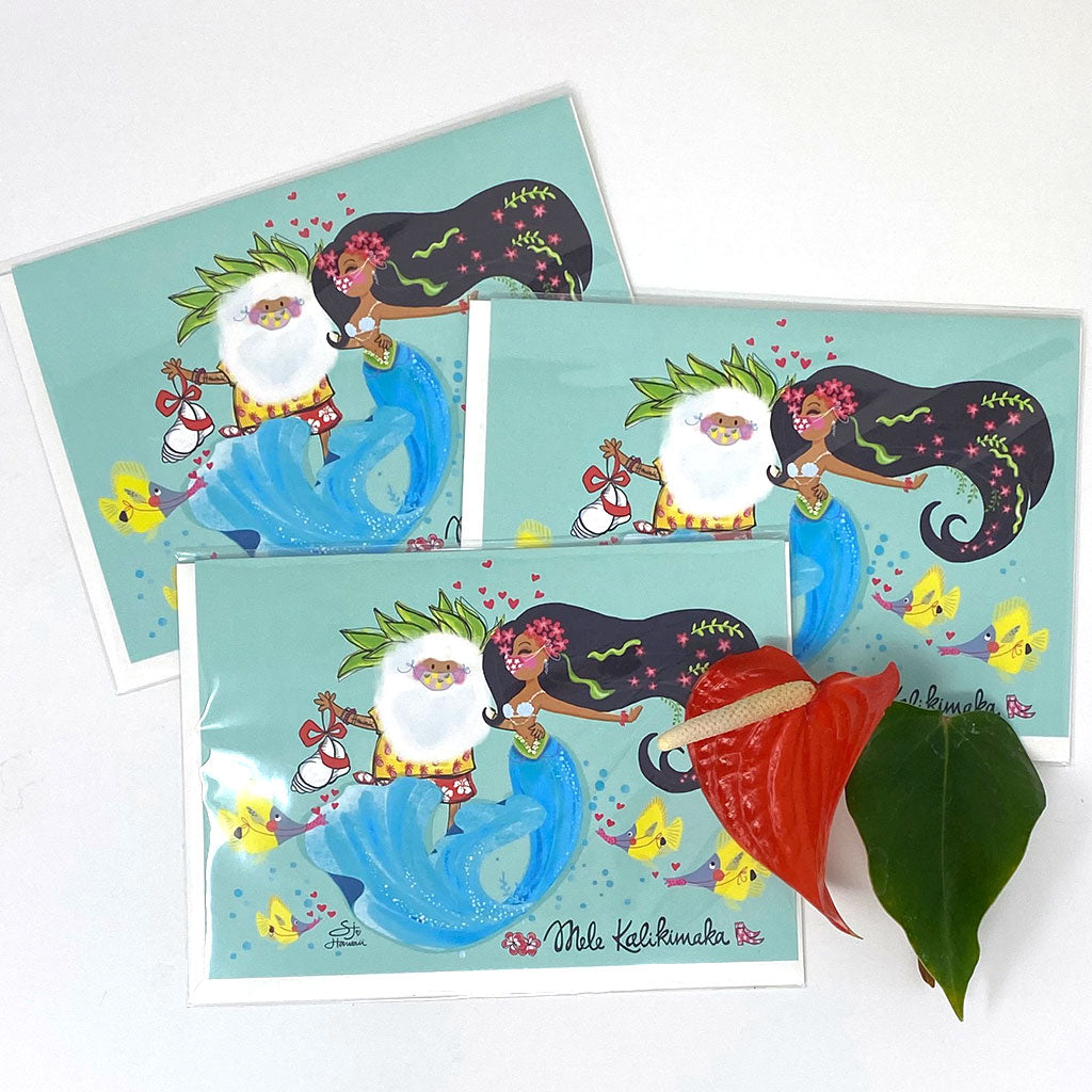 SANTA MERMAID GREETING CARD