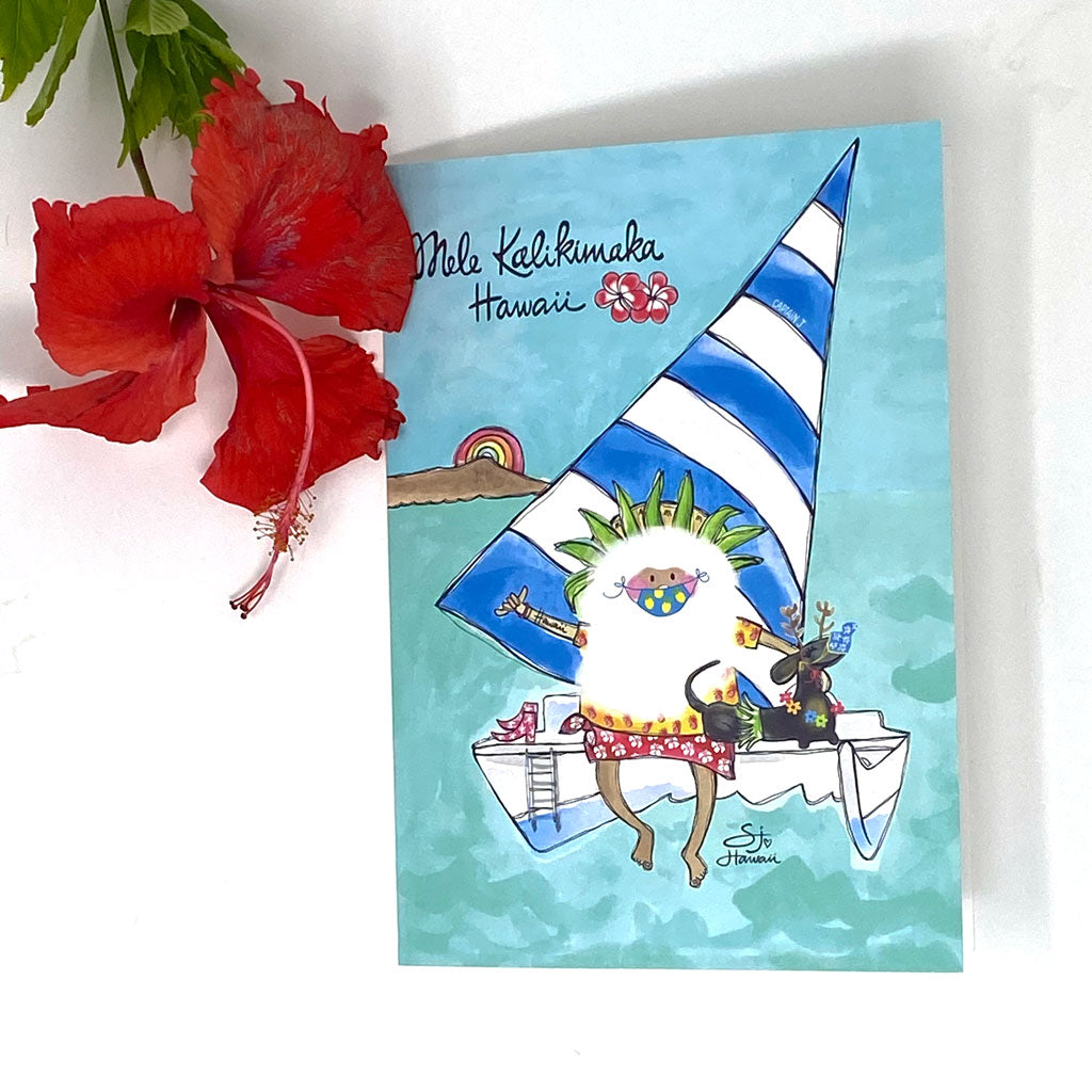 SANTA CATAMARAN GREETING CARD