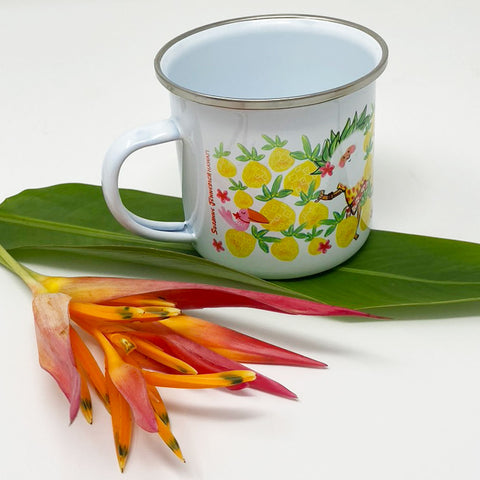 SANTA PINEAPPLE TREE enamel mug