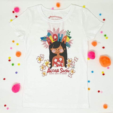 ALOHA SUSU WHITE GIRLS TEE