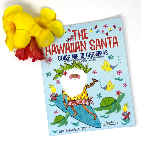 Coloring Book Hawaiian Santa