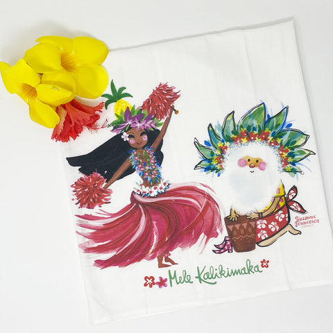 SANTA PINEPPLE HULA kitchen towel
