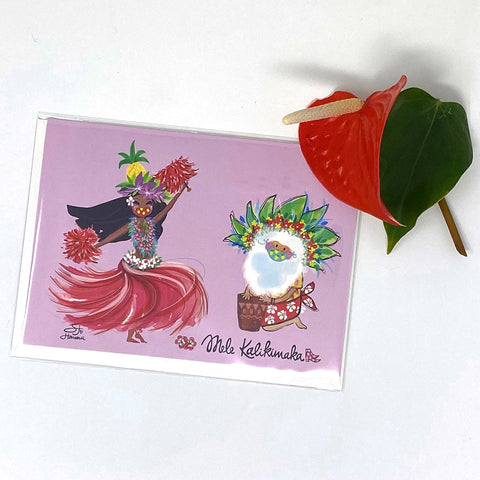 SANTA HULA GREETING CARD