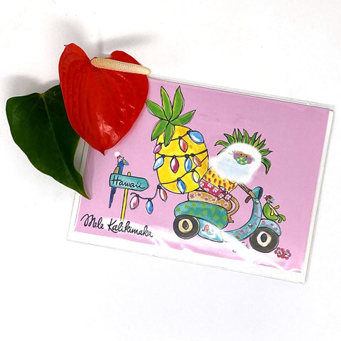 SANTA MOPED GREETING CARD