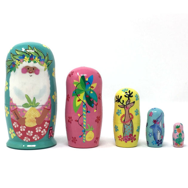 Hawaiian Santa wooden Nesting Doll 5pc Set
