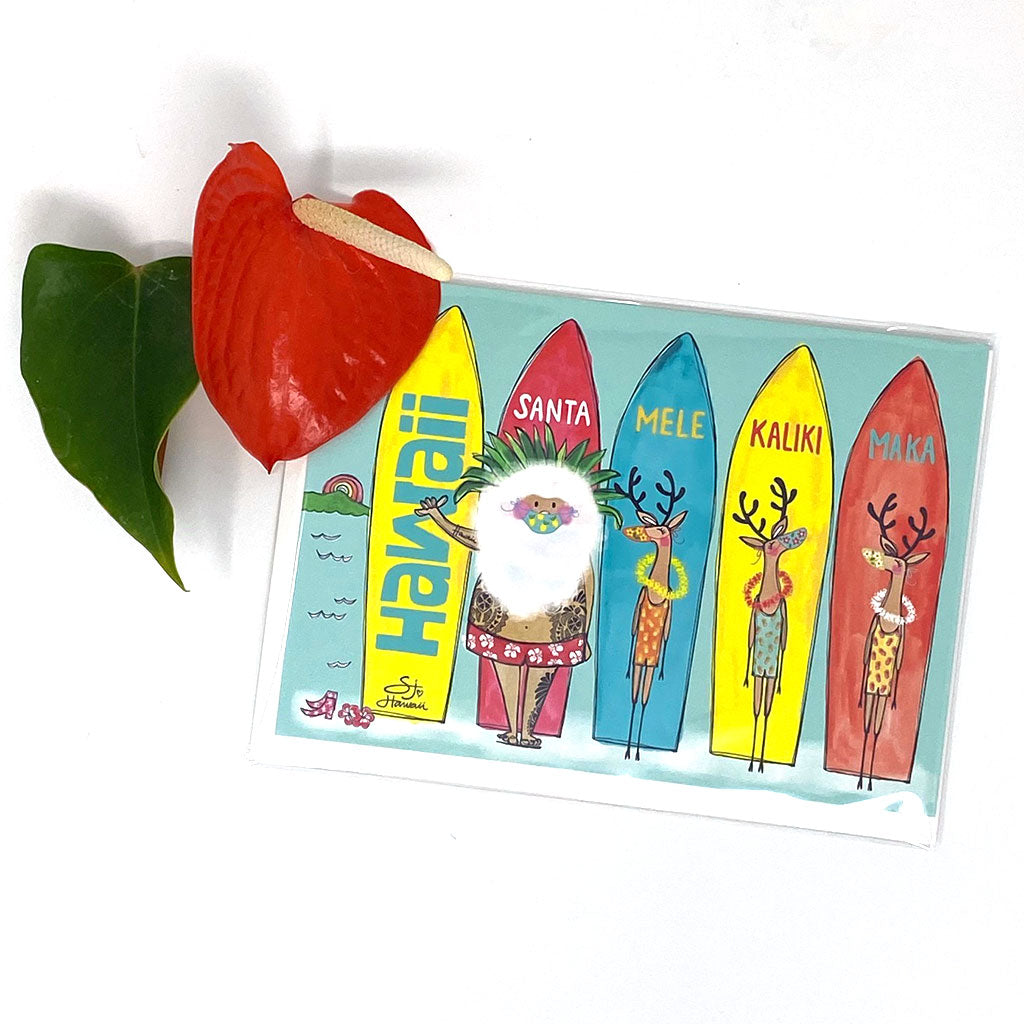 SANTA SURFBOARDS GREETING CARD
