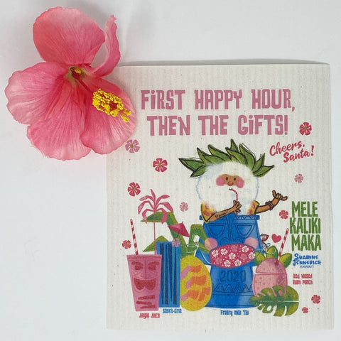 SWEDISH DISHCLOTH - Santa Happy Hour