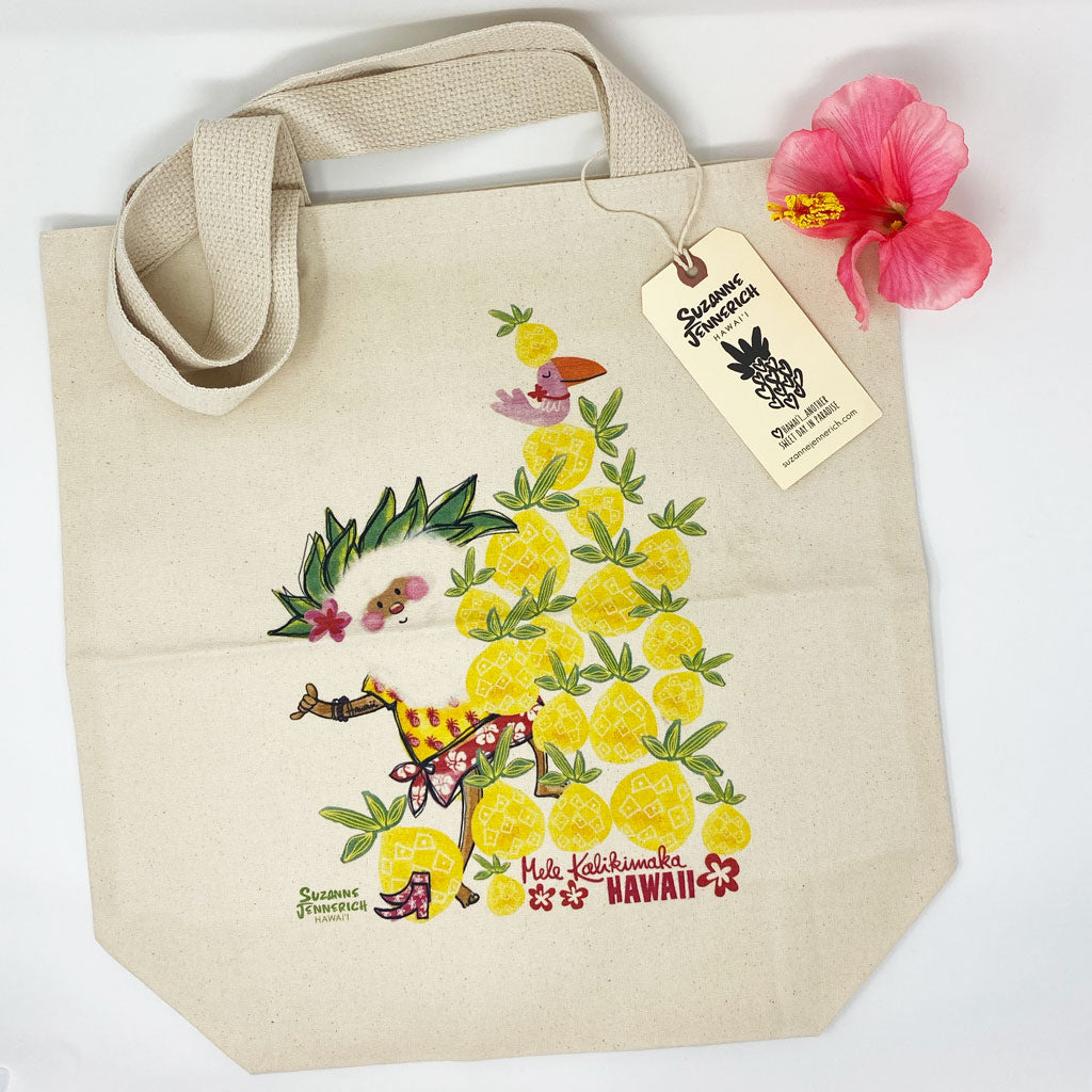 SANTA PINEAPPLE TREE tote bag