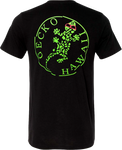 Retro Gecko Black t-shirt with green neon broken circle