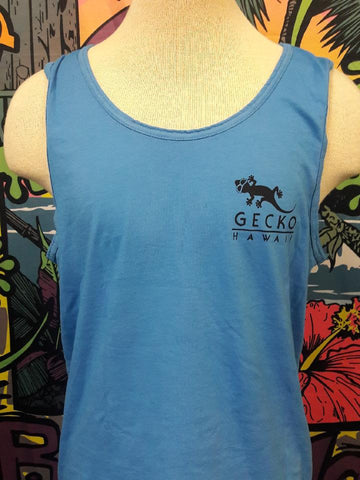 Gecko Beach Ocean Blue Pigment Dyed Tank Top