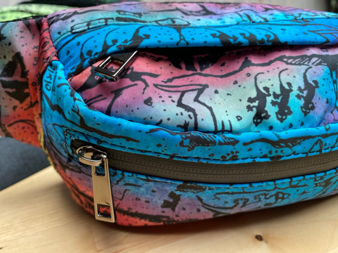 Tie Dye Fanny/Shoulder Pack Blue-Red Combo