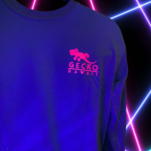 Gecko Beach Long Sleeve Tee Iced Mint (Blacklight Reactive)
