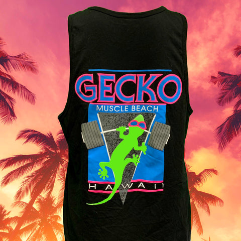Gecko Muscle Beach Black Cotton Tank