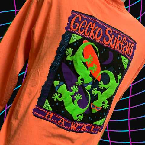 Gecko Surfari - ELECTRIC MANGO - 80's Double Puffed Ink Long Sleeve Pigment Tee