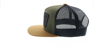 """Davis"" Hooey Green / Black Mesh 5-panel trucker with patch - OSFA"
