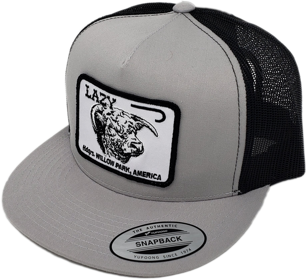 "Silver & Black Lazy J Headquarters Patch Cap (4"")"