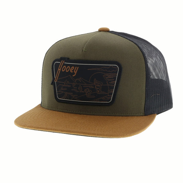 """Davis"" Hooey Green / Black Mesh 5-panel trucker with patch - OSFA*"