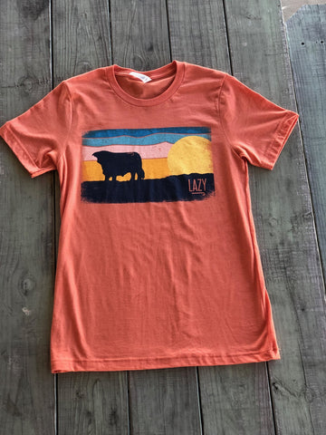 Lazy J Ranch Wear Orange Ranch hereford Sky Short Sleeve T-Shirt